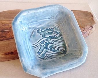 Blue Japanese Waves Studio Pottery Dish