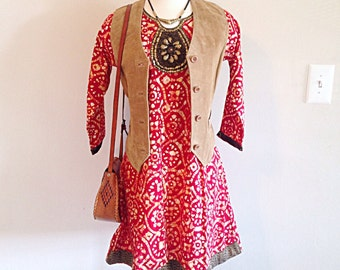 Crazy Awesome Boho Gypsy Festival Hippie Batik Tunic Dress