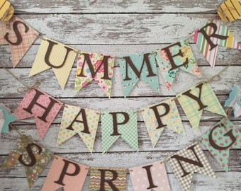 Spring banner, summer banner, happy spring and summer banner, happy spring, happy summer, summer, spring, home decor banner, photo prop
