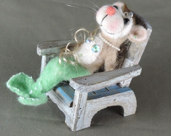 """Needle felted mouse, 5"""" tall, Mermaid art doll, tan and green wool"""