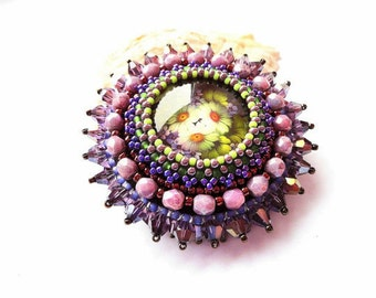 Bead Embroidered Purple Brooch Beadwork Flower Brooch Floral Glass Brooch Bead Embroidered Brooch OOAK Jewelry Ready to ship