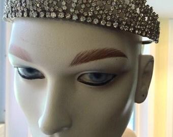 RHINESTONE TIARA CROWN Wedding Head Dress Complete  w/Combs Princess Crown, Palm Beach Chic, Bride, Wedding Headband at Ageless Alchemy