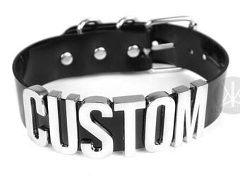 CUSTOM Choker XL   Wide Choker Collar   Faux Leather PVC   Custom Name Collar   Custom   Bondage   Letters   Safe Word Choker   Shop Kadabra