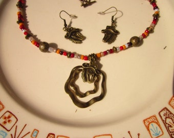 Hand Crafted in USA: Bronze Horse Pendant Earrings and Necklace