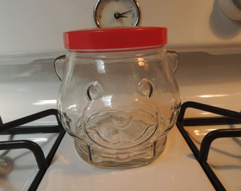 Teddy Bear Glass Jar, Kraft Peanut Butter Jar, Bear Cookie Jar, Excellent condition, Vintage, Dated