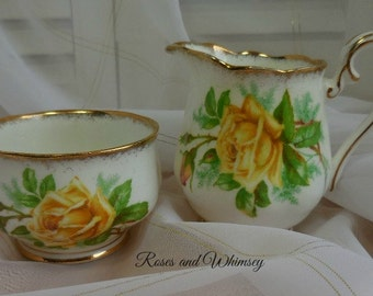 Royal Albert Tea Rose - Made in England - Creamer and Bowl - Yellow Roses - Gilding