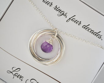 40th Birthday Gift for her, Birthday Gift, 4rd Anniversary Gift, Best Friend Jewelry, Sister Necklace, Amethyst Necklace, Birthstone Jewelry