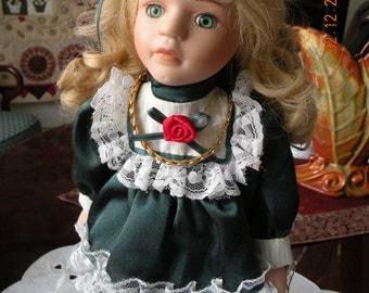 "Soft Expressions Porcelain Doll - 13"" Blond Hair Blue/Green Eyes"