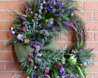 MADE TO ORDER Scottish Thistle & Heather Coastal Wreath, Everyday Wreath, Highland Scotland Decor, Summer Wreath, Purple lavender, Floral