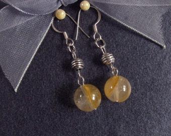 Gemstone Earrings Yellow Iron Quartz 10mm Round Beads 925 ESQI2038