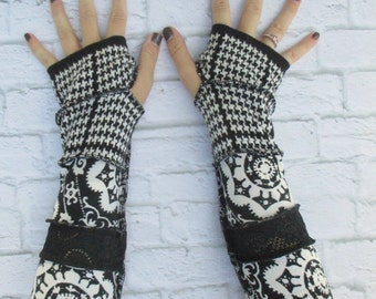 Wrist Warmers - Driving Gloves - Gift For Her - Long Cotton Arm Warmers - Black and White - Armwarmers - Festival Clothing - Gypsy Clothing