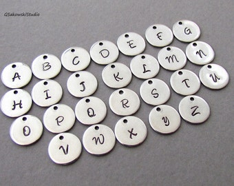 Add on stainless steel hand stamped initial coin disc charm