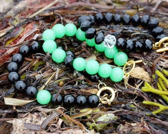 Jade and Faceted Black Onyx Gemstone Bracelet