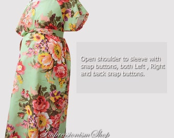 Maternity Hospital Gown, Shoulder Snaps Breastfeeding Maternity Delivery Gown Light Green Floral Maternity gown Skin to Skin Snaps down back