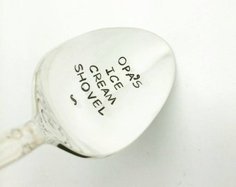 Opa's Ice Cream Shovel Stamped Spoon, Gift for Dad, gift for Father, Gift for Grandpa, Gift for Him, Gift for Opa