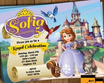 Sofia the First Invitation, Sofia the First Birthday Party Invitation, Princess Invitation, Sofia Birthday Invite R-43
