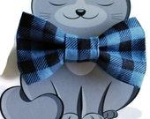 Buffalo Plaid Bow Tie for Cat, Dog Bow Tie, Collar Accessory, Pet Wardrobe, Made in Canada, Slip On Collar Accessory, Blue, Black, Checks