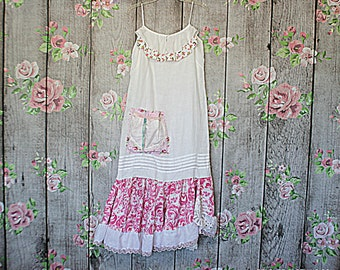 Linen Upcycled Dress / Shabby Women's Clothing / Tattered Raw Mori Girl Clothes / French Sugar Dressing Size Large / Reloved Clothing Co