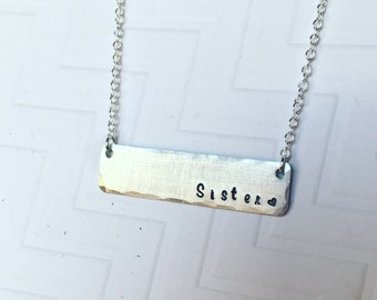 Sisters Necklace - Hand Stamped Personalized - Silver Bar Necklace