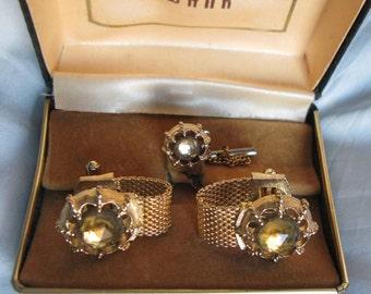 Cuff Links Vintage, Swank Large Mesh Cufflinks Set Tie Tac, Topaz Color Gem Stone