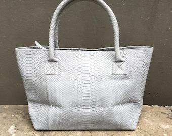 TOTE BAG - Soft Grey Tote Bag Python Snakeskin Leather with Shoulder Strap