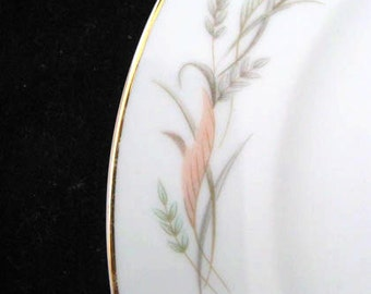 Lovely Fine China of Japan Joyce Salad Plates with Peach Green and Gray Leaves Vintage 1960s SET of 6