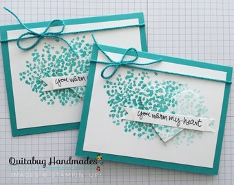Stampin' Up! Love Card/Anniversary Card/Valentine's Card/Thinking of You Card/Friendship Card- Sheltering Tree- Ombre Aqua Heart