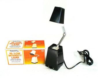 Vintage Desk Lamp Nobility Black and White  Hi/Low Intensity Lamp