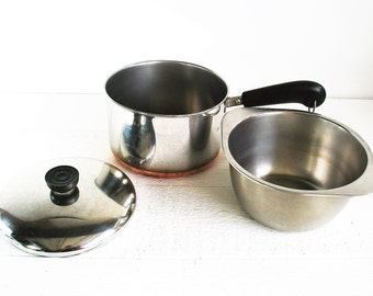 Vintage Revere Ware Stainless Steel Copper Bottom Double Boiler Sauce Pan