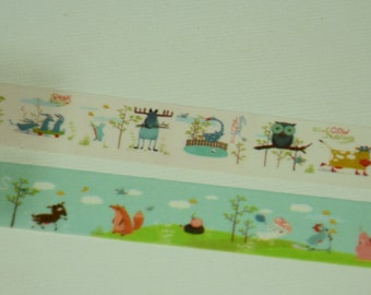 2 Roll Japanese Washi Tape- Cute Animals