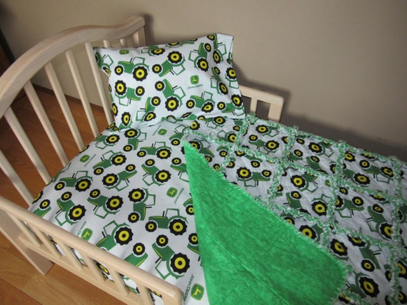 Toddler Bed John Deere Blue Stripe TRACTOR Fabric Baby Crib