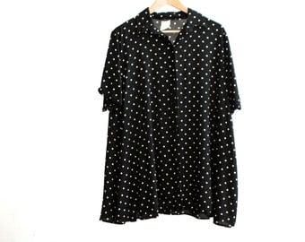 90s black & white polka dot SLOUCHY shirt dress billowing large oversize