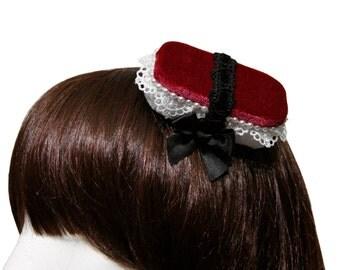 Elegant Velvet and Lace Spam Musubi Hair Clip