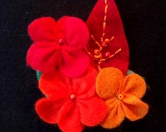 Red and Orange Beaded Felt Flower Hair Clip