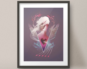 Female Portrait, Surreal Open Heart Beautiful Art Print Design