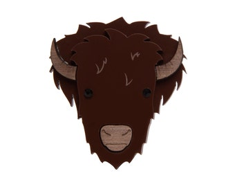 Bison brooch - laser cut acrylic and wood