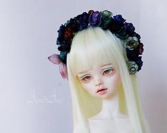 Color of Despair OOAK flower handmade headband wreath corolla for bjd dollfie msd 6.5-7.5 inch mnf minifee size dolls heads
