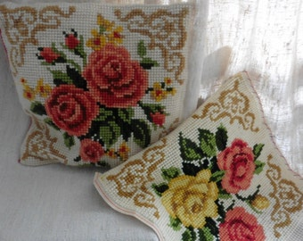 French Vintage, France , 2  Tapestry ,Old Wool-work, Antique Embroidery, France Textiles, Home And Living ,Textiles ,Shabby ,Pillow Art Deco