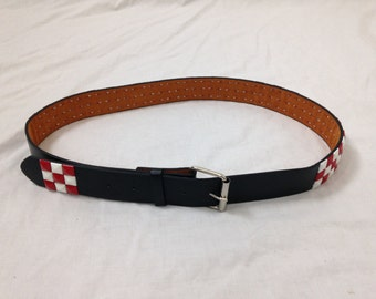 red n white studded belt