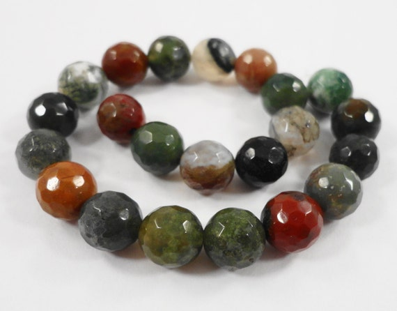 Fancy Jasper Gemstone Beads 8mm Round Faceted Indian Agate Beads Multicolor Semiprecious Stone Beads on a 7 Inch Strand with 22 Beads