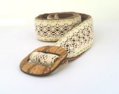 Crochet summer belt, beige lace cotton belt