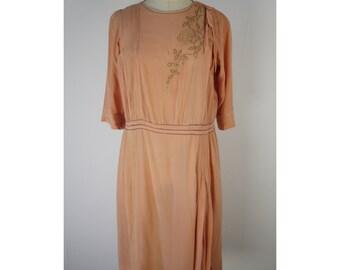 SALE 1920s peach silk drop waist embroidered dress