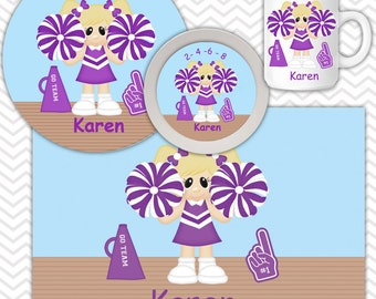 Cheer Plate & Bowl Set - Personalized Cheer Plate Set - Customized Plate and Bowl - Melamine Plate and Bowl Set for Kids