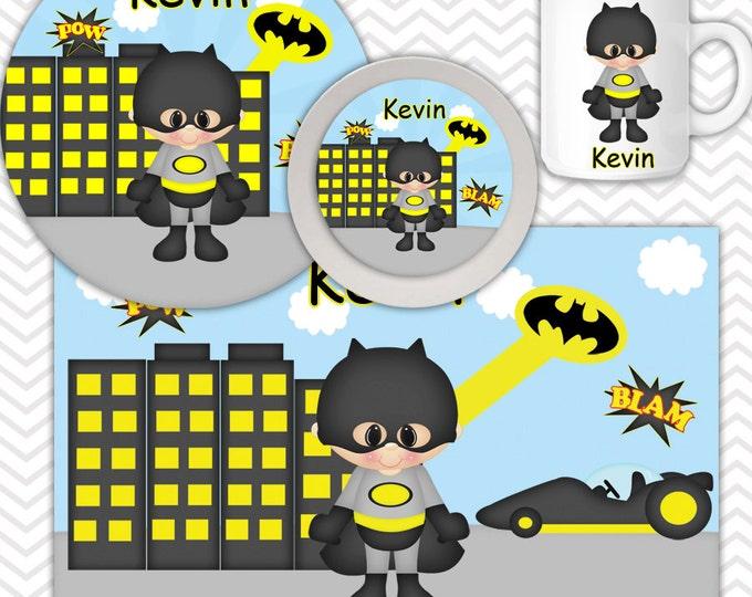 Featured listing image: Batman Plate Bowl Mug Set - Personalized Batman Plate Set - Customized Plate, Bowl, Mug - Melamine Plate, Bowl & Set for Kids