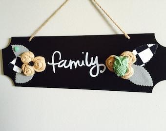 NEW/SALE/Clearance/Chalkboard Sign/Family/Felt Leaves/Owl/Chalk Art/Gift Idea/Christmas Gift/Birthday Gift/Housewarming/Wedding/Slate
