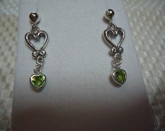 Heart Cut Periodot Dangle Earrings in Sterling Silver   1801