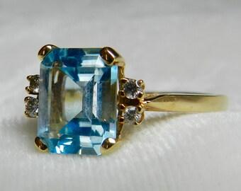 Topaz Ring Art Deco Ring Topaz Engagement Ring Emerald Cut Blue Topaz Gold Engagement Ring 4 carat Topaz Stone Ring December Birthday Gift