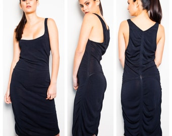 slinky vintage 80s AZZEDINE ALAIA black knit low scoop neck ruched side seamed racer back tank dress