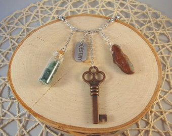 Silver Charm Necklace- Key, Turquoise, Bottle- One of a Kind!