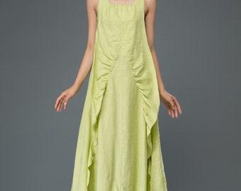 lime green linen dress, long dress, maxi dress, sleeveless dress, women's dress C920